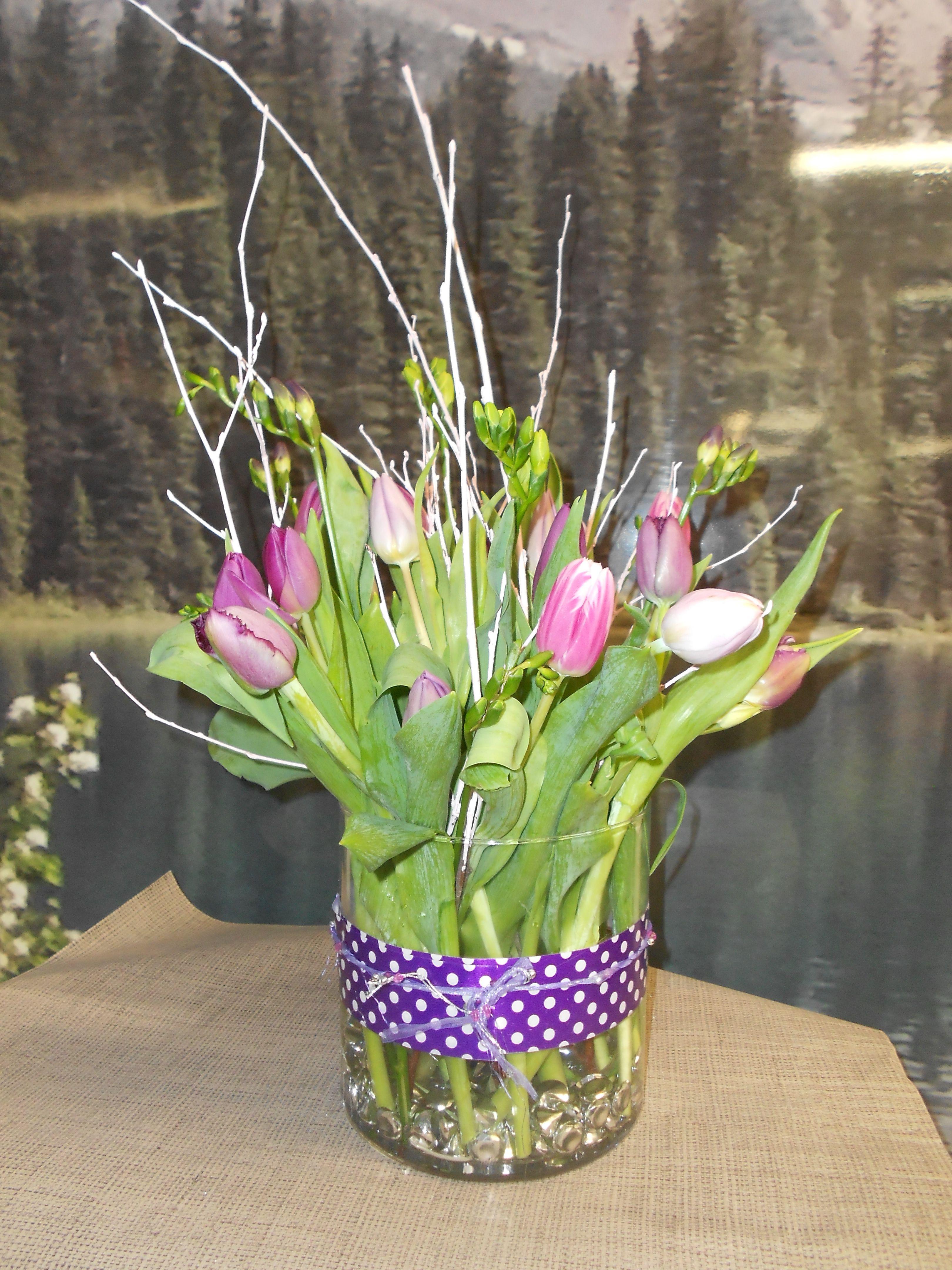 Tulip and Freesias Vase